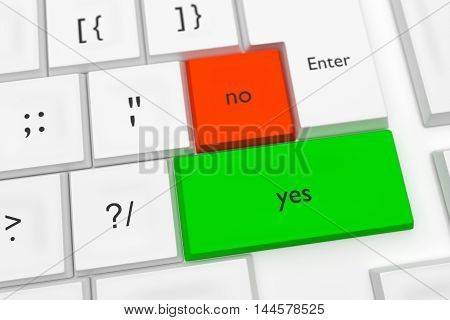 Computer Keyboard With The Words Yes And No As Hot Buttons 3d illustration