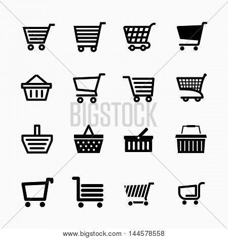 Shopping cart icons set, Add to cart website symbols, user interface pictograms for webdesign or application design, , vector illustration
