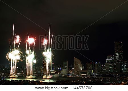 Fireworks in Yokohama Minato Mirai 21, Kanagawa, Japan
