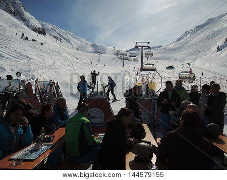 Höllboden, Ischgl, Austria, February 25, 2014: Break from skiing in the restaurant Höllboden in Ischgl, Austria.