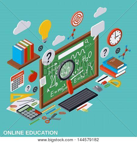 Online education, learning, teaching isometric vector illustration