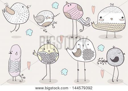 Cute Hand Drawn Bird Clipart, Graphics Doodle illustration. Vector