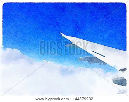Digital watercolor painting background of white clouds and an airplane wing in the blue sky with space for text.