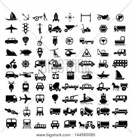 Vector illustration of simple monochromatic vehicle and transport related icons for your design or application