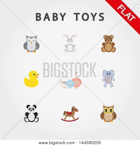 Baby toys. Cute little animals. Icon set for web and mobile application. Vector illustration on a white background. Flat design style.