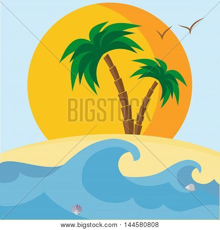 Palm trees, beach, seashells, sunset and waves. Vector illustration. It can be used as a card or banner. Also, all the elements can be used independently as icons for mobile applications or logos.