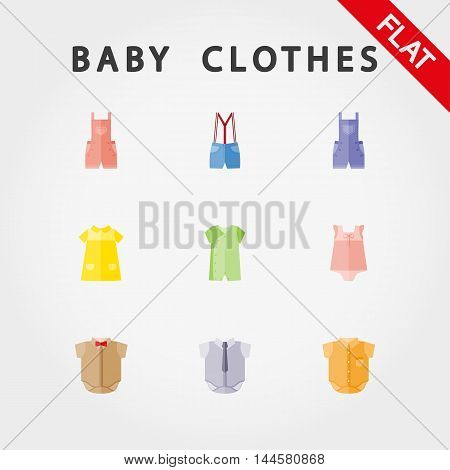 Baby clothes. Icon set for web and mobile application. Vector illustration on a white background. Flat design style.