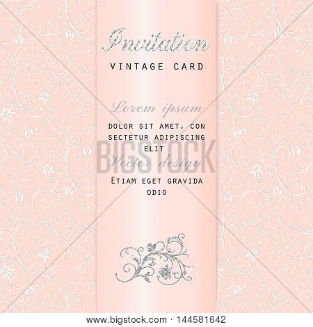 Rich vector invitation in vintage floral decor pattern, pink with satin ribbon
