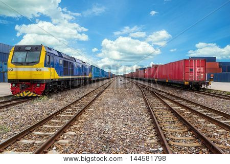 Cargo train platform with freight train container at depot in port use for export logistics background