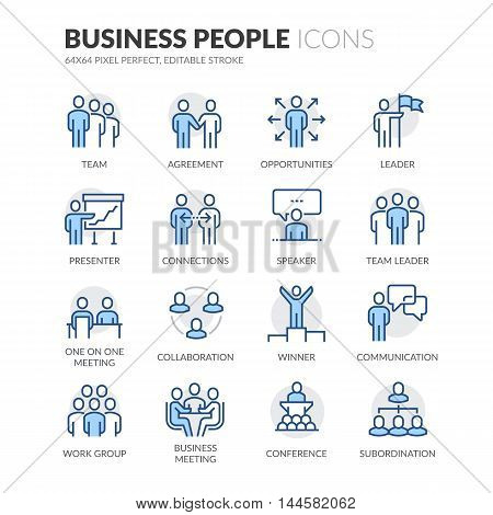Simple Set of Business People Related Color Vector Line Icons. Contains such Icons as Business Meeting, Handshake, Agreement, One on One Meeting and more. Editable Stroke. 64x64 Pixel Perfect.