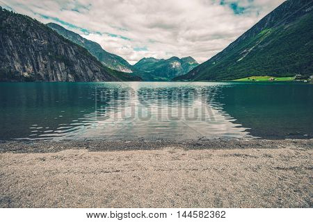 Glacial Lake Beach in Norway. Scenic Lake Place Near Stryn Norway Europe.