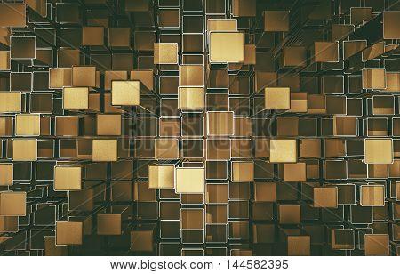 Golden Cubes Abstract Background 3D Render Illustration.
