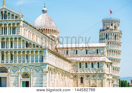Pisa Italy Architecture. Famous Leaning Tower of Pisa.