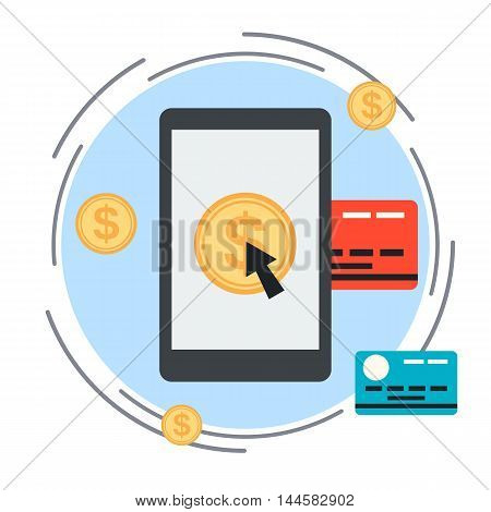 Online banking, mobile payment, pay per click, money transfer concept