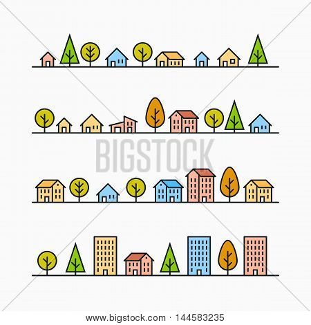 Line buildings and trees in line, 4 different styles, small city, town or village, vector illustration graphic
