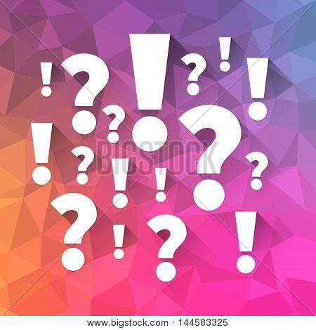 Question and answers symbols on polygon abstract background, Punctuation marks vector illustration