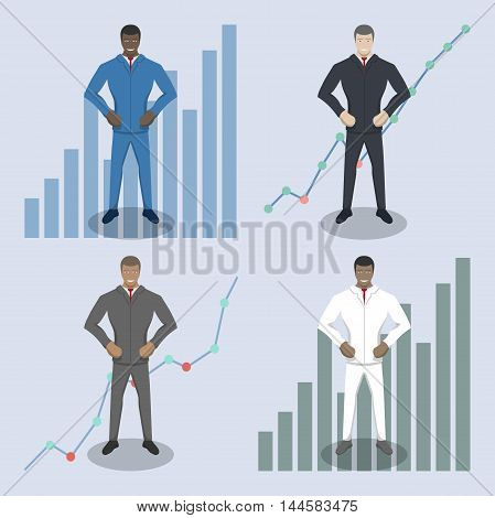 Business theme illustration. businessman characters set with infographic background.
