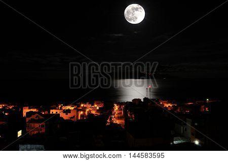 Full Moon Over The City Of Sao Filipe