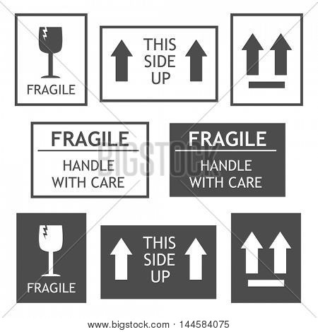 Fragile shipping labels vector illustration