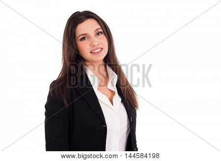Businesswoman portrait. Isolated on white