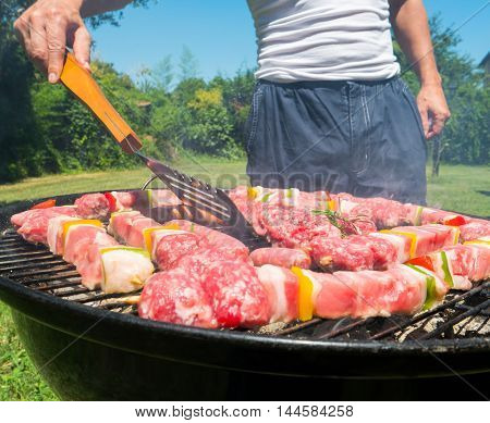Detail of meat on a barbeque grill
