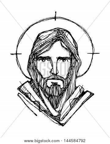 Hand drawn vector illustration or drawing of Jesus Christ face