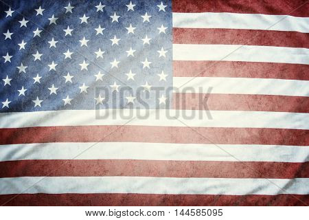 Closeup of textured American flag