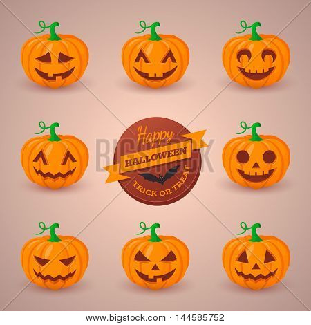 Various emotions for Halloween design. Vector illustration.