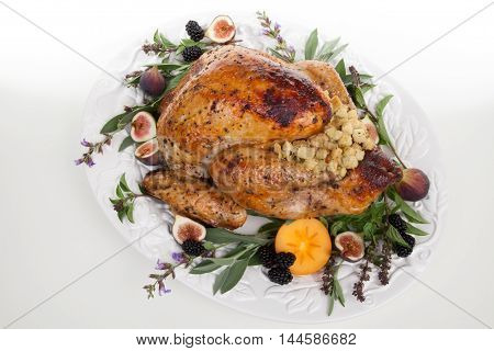 Garnished Turkey On Serving Tray