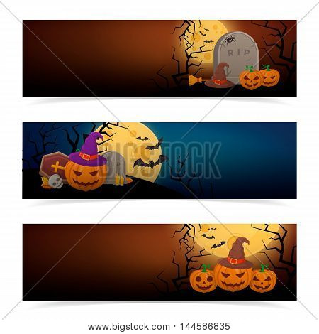 Halloween party banners design. Eps 10 vector illustration