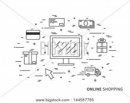 Flat Linear Vector Online Shopping Illustration