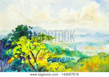Watercolor original painting landscape and beautiful cloud in the sky background