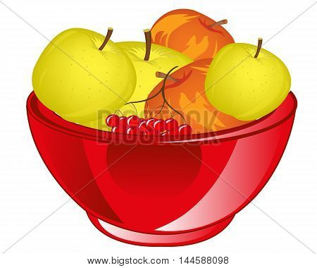Big chalice with fruit apple on white background is insulated
