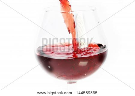 Beautiful scene drops and splashes of wine