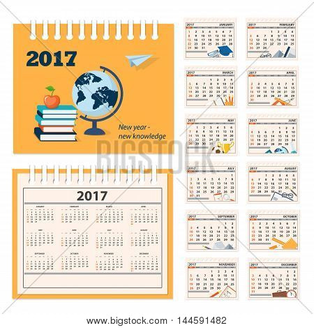 Calendar for desk on 2017 year. Set of the 12 month isolated pages with education icons and full calendar with image on the cover. Week starts on Sunday. eps 10