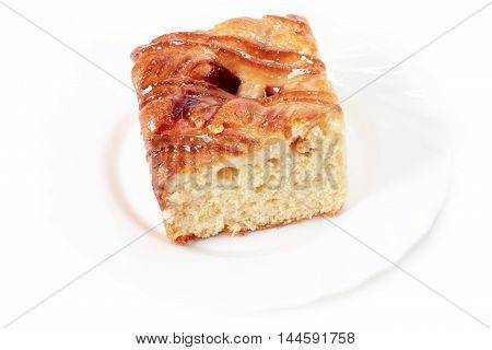 Sweet baked cake as part of a meal
