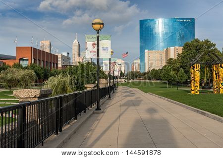 Indianapolis Indiana USA - Aug. 2016. White River Park in downtown Indianapolis facing the modern Hotel building JW Marriott which is the 7th-tallest building in Indianapolis