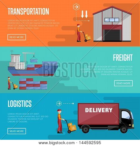 Sea port design concept set with container cargo and shipment flat design vector illustration. Cargo ship. Logistics and transportation infographic elements. Sea port concept. Cargo terminal.