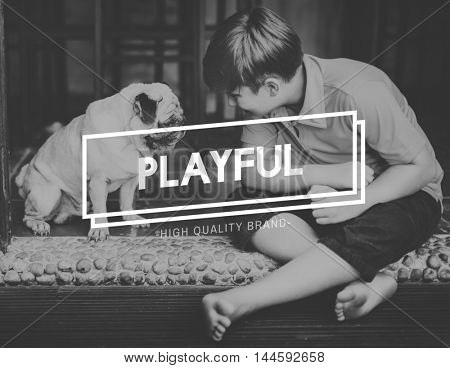 Bonding Pet Boy Playful Concept