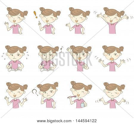 Set of young girl's various poses and emotions