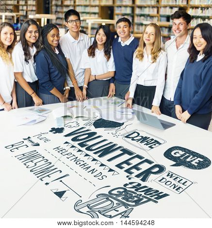 Multiethnic Students Social Charity Concept
