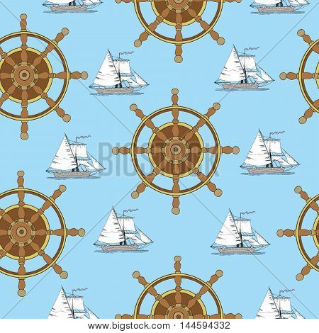 Seamless background with ship wheel and sailing vessel on blue, with hand drawn elements