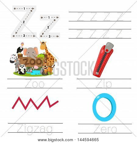Illustration of Worksheet for children z font