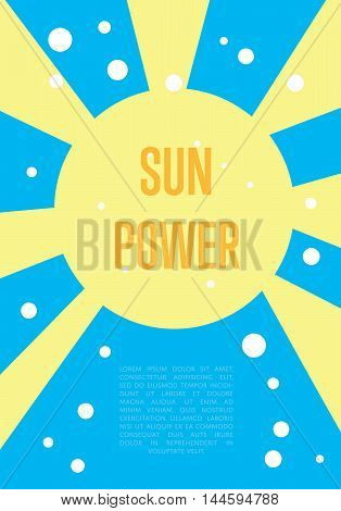 Sun power banner. Abstract vector illustration with yellow sun and rays on blue background. Renewable resources concept. Eco generation