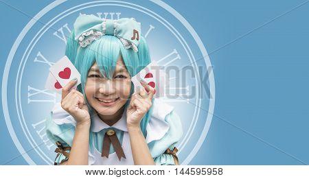 Japan anime cosplay , maid cosplay , hand made costume and card