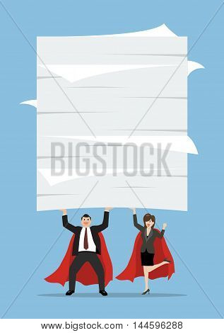Business man and woman superhero lifting a lot of documents. Business concept