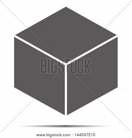 Gray cube icon isolated on background. Modern flat pictogram. Trendy Simple vector symbol for web site design or button to mobile app.