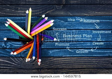 Business plan text painted and group of pencils on wooden table