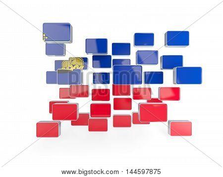 Flag Of Liechtenstein, Mosaic Background
