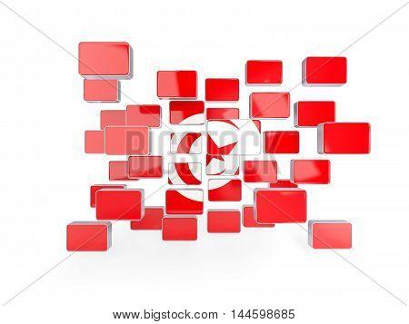 Flag Of Tunisia, Mosaic Background